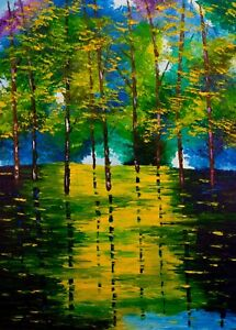 Natasha Petrosova original oil painting Swamp Trees 16x20 inch