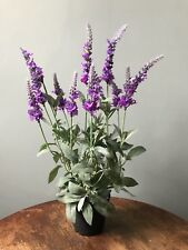 Realistic Potted Artificial Veronica, Faux Silk Purple Lavender Wild Flowers