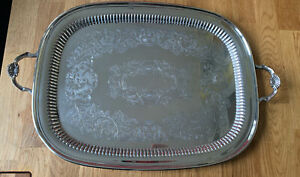 Beautiful Large Vintage Silver Plated Serving Tray / drinks tray 45cm X 35cm