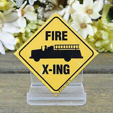 Ande Rooney/Enamel Kitchen Magnet/Fire Truck Crossing/ Hook Ladder/Fire Chief