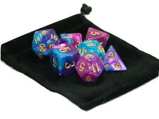New 7 Piece Polyhedral Blend Purple Teal Dice Set With Dice Bag D&D RPG