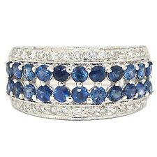14 Kt White Gold Ring 1.26 Cts Round Blue Sapphire and .56cts Round Diamonds