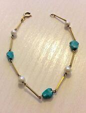 Beautiful Ladies Unusual Vintage 9ct Gold Cultured Pearl & Turquoise Bracelet