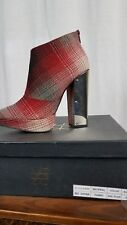 Sole Struck Yes Big Dipper Red Plaid Ankle Bootie Chunky Metallic Silver Heel 8