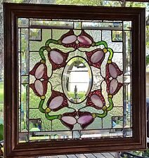 TIFFANY STYLE STAINED GLASS WINDOW ART PANEL VICTORIAN WOOD FRAME SUNCATCHER