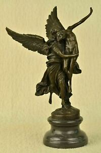 GLORIA VICTIS FRENCH BRONZE  SCULPTURE ANGELS WINGED MEMORIAL STATUE ART DECOR
