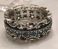 NWT OR PAZ  STERLING SILVER 925 LACE DESIGN BLUE TOPAZ SPINNER RING SZ 9 ISRAEL