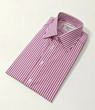 Nouveau Turnbull Asser Chemise Homme blanche à rayures roses coupe standard 15.5 - 39 cm RRP £ 215