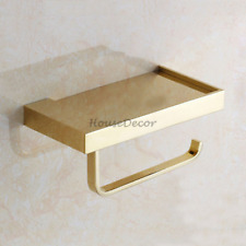 Bathroom Wall Mounted Toilet Paper Roll Holder Tissue Rack Cell Phone Shelf Gold