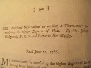 1786 Josiah Wedgwood, Additional Observations on a Thermometer .. Higher .. Heat