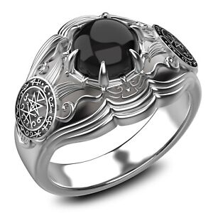 Onyx Seal Of Lilith Ring Seal Of Lilith Sigil Of Lucifer Ring 925Sterling Silver