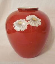 "Noritake Nippon Toki Kaisha Daisies & Red 6"" Vase Gold Trim Daisy n1043 China"