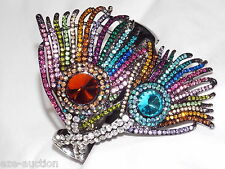 MULTI-COLOR RHINESTONE CRYSTAL PEACOCK BRACELET / BANGLE / CUFF
