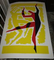 """Vintage S.J. Budnick's pop art color lithograph """"Dance of Life"""", signed, listed"""