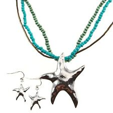 "Turquoise Blue Starfish Star Beach Silver Jewelry 18"" Necklace & Earrings Set"