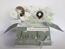 Newborn Baby Boy or Baby Girl pop up card, box, Keepsake, personalised, Choose