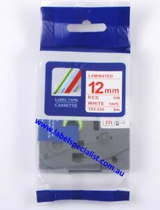 Laminated Brother P-Touch TZe-232 compatible12mmx8m Red-On-White Tape