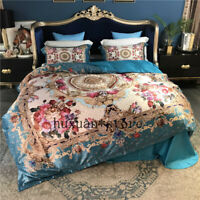 Luxury 80S Silk Cotton Brocade Europe Bedding set Printing Queen King size 4pc