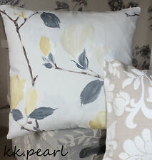 "John Lewis SAYURI Magnolia Fabric & Floral  Cushion Cover 16"" Reversible"