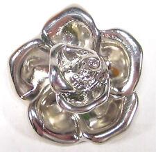 SoHo® Ketten Anhänger silber metalic Rose pendant Metall Effekt Rose retro 80er