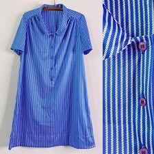Vintage 70s Blue White Striped Mod GoGo Shift Dress XL Button Front Boho