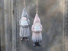 Chic Antique Christbaum Weihnachtsmann 2 Stck. Holz Deko Hänger nordisch Shabby