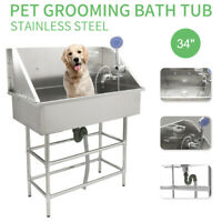 """34"""" Pet Dog Grooming Bath Tub Station Professional Stainless Steel Wash Shower"""