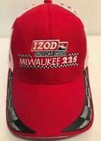 Vintage Izod INDYCAR Milwaukee 225 Baseball Cap Red Strapback Hat Adjustable