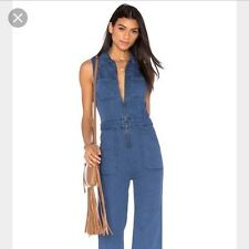 NWT Free People The Wind And More Retro Denim Zip Up Mechanic Jumpsuit 2