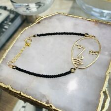 Bracelet Picasso Face Line Drawing Brand New Gold And Black Beaded