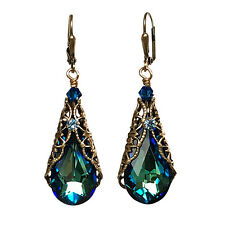Bermuda Blue Teardrop Crystal  Filigree Earrings with Crystals from Swarovski