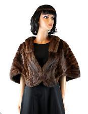 Squirrel Fur Stole Vintage 50s Dark Brown Wrap Cape Shrug One Size Mink Look