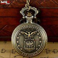 Antique Bronze US Air Force Vintage Pocket Watch Necklace Quartz Mens Chain Gift