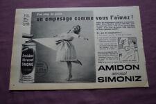 Ancienne publicité de presse - 1962 - AMIDON AEROSOL SIMONIZ