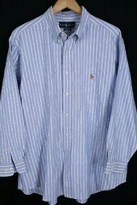 Ralph Lauren Mens sz XL 17.5 32/33 Blue White Striped Classic Fit Dress Shirt