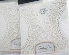 LASER CUT WALLETS CRISTINA RE INVITATIONS x 5 IVORY DOILY ENGAGEMENT WEDDING DIY