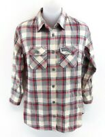 SUPERDRY Womens Shirt S Small Grey White Red Navy Blue Check Cotton
