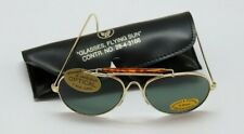 Aviator Sunglasses Gold Frame with Green Tinted Lens and Carry Case item #E251