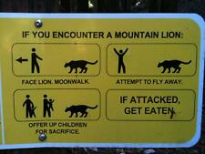 Photo. Funny Sign - IF YOU ENCOUNTER A MOUNTAIN LION