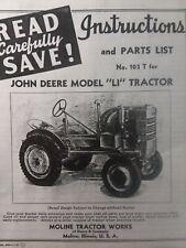John Deere Agricultural Farm 1945 LI Tractor Owner, Service & Parts List Manual