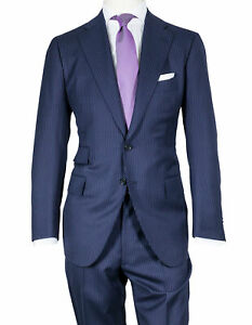 Cesare Attolini Suit IN Dark Blue with Pinstripes from Wool/Cashmere