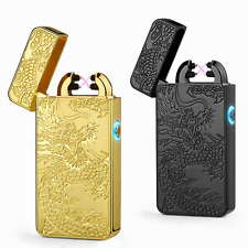 Electric DOUBLE ARCH PULSE PLASMA LIGHTER Flameless Metal Cigarette USB Dragon