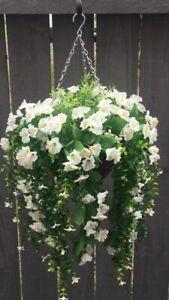Beautiful  White/Greenery Artificial  Trailing Hanging Basket Ready To Hang