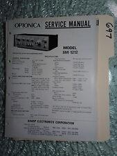Optonica Sharp sm-1212 service manual original repair book stereo amp amplifier