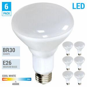 6 Pack BR30 LED 10W Watt 120V 700 Lumens Medium E26 Dimmabe 840 4000K Cool White