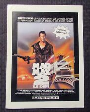 "1981 Mad Max 2: The Road Warrior 9.5x12.5"" French Press One Page VG+ 4.5"