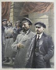 Lenin original vintage color lithograph USSR socialist realism Soviet art