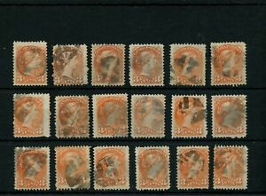 Fancy Cancel Cork cancels x 18 copies 3 cent Canada Small Queen used