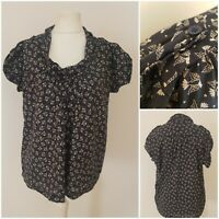 French Connection Womens Navy Blue Vintage Style Bird Print Top Blouse 10-16