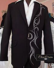 Hochzeitsanzug Herrenanzug Schwarz mit Stickerei 2 teilig H7101